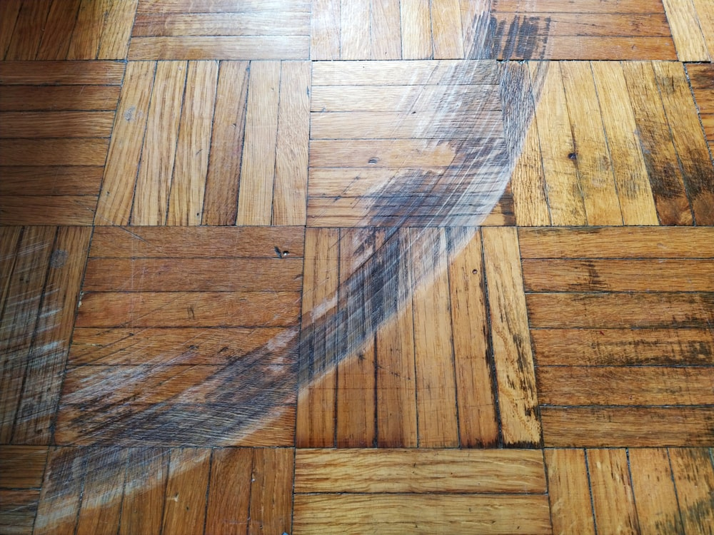 Scratchrs and dents on a hardwood flooring